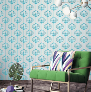 Blue vinyl wall pattern