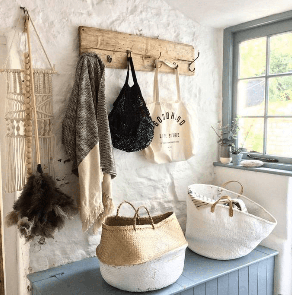 Baskets in a rustic country cottage home