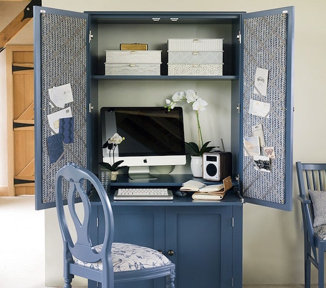 Home office armoire custom painted by dorm house