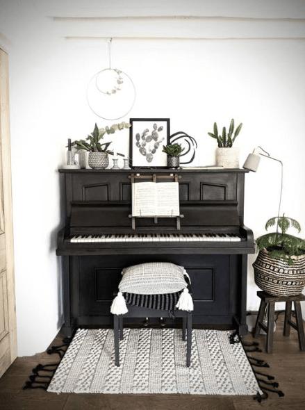 Antique black piano