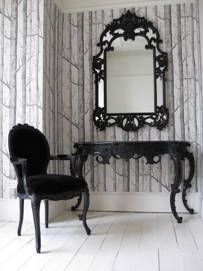black console table and mirror from the French bedroom company
