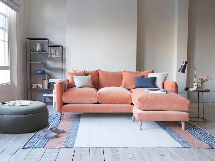 pink velvet chaise sofa