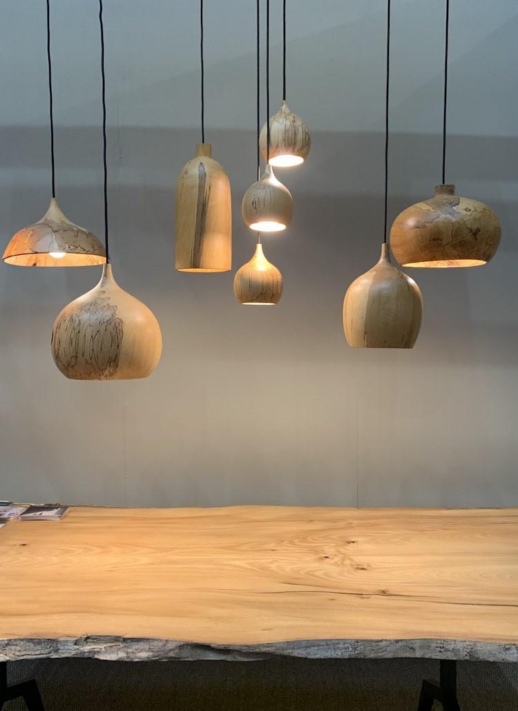 wooden light shades at Decorex