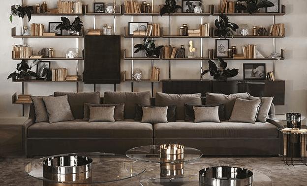 Luxury interior with velvet sofa