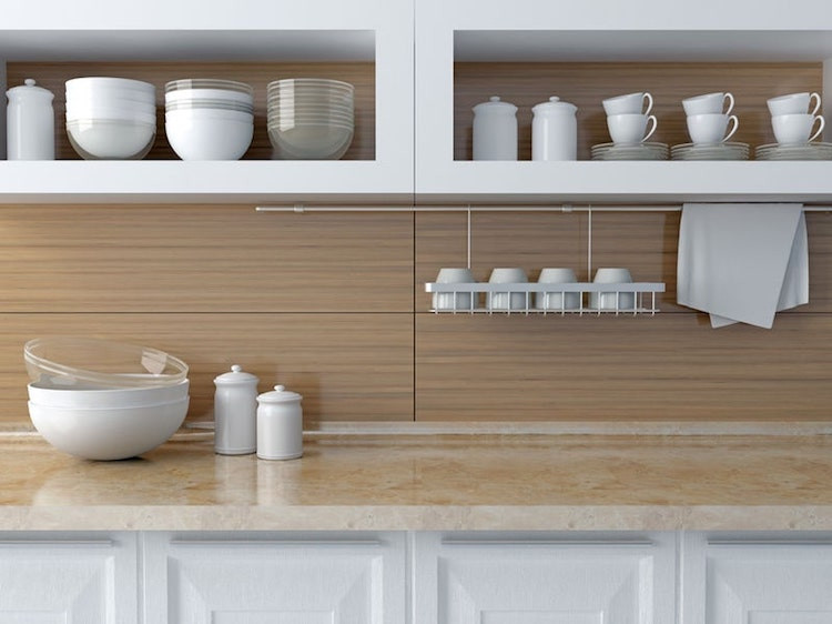 wood and white marble kitchen