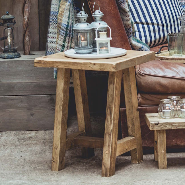 Rustic wooden stool by Vincent Trading