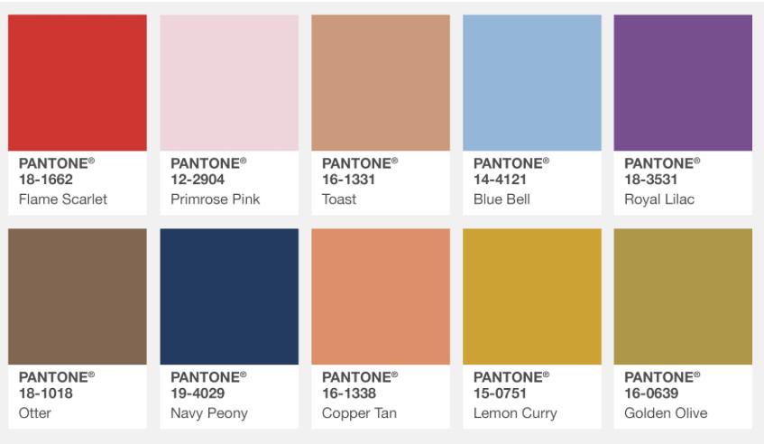 Pantone Fall Colour report London 2017