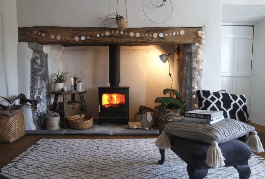 Inglenook fireplace at downcross house