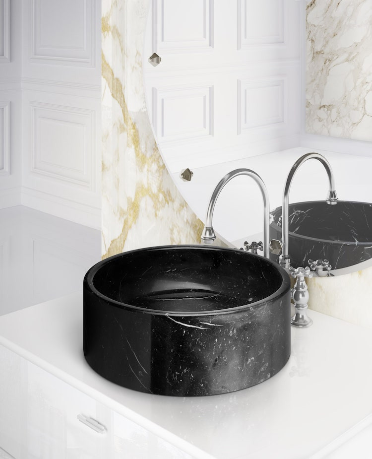 black marble sink basin