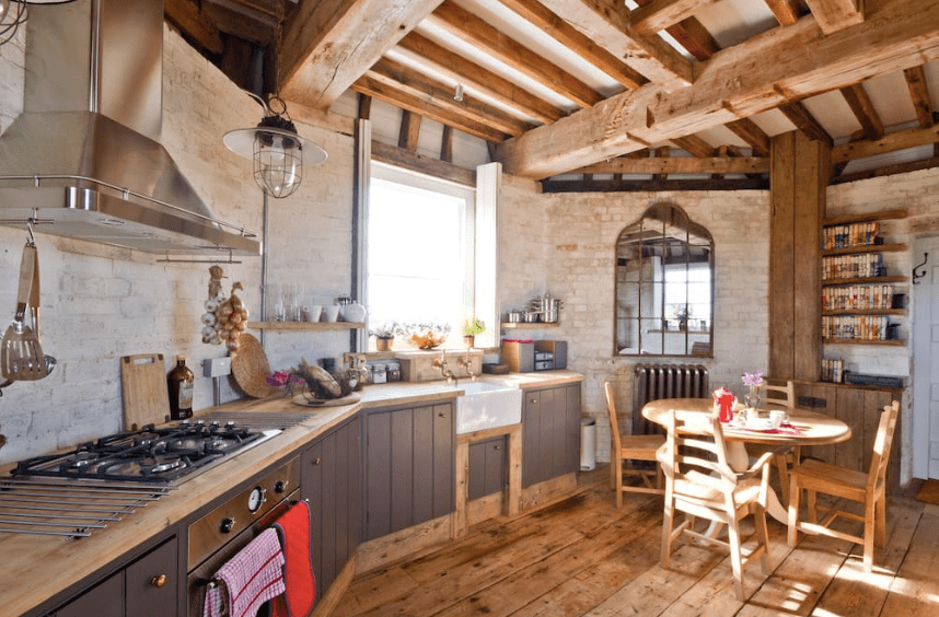 Country kitchen with wooden beams