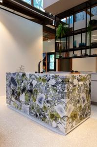 modern kitchen with mint green marble kitchen