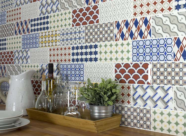 mixed patterned tiles