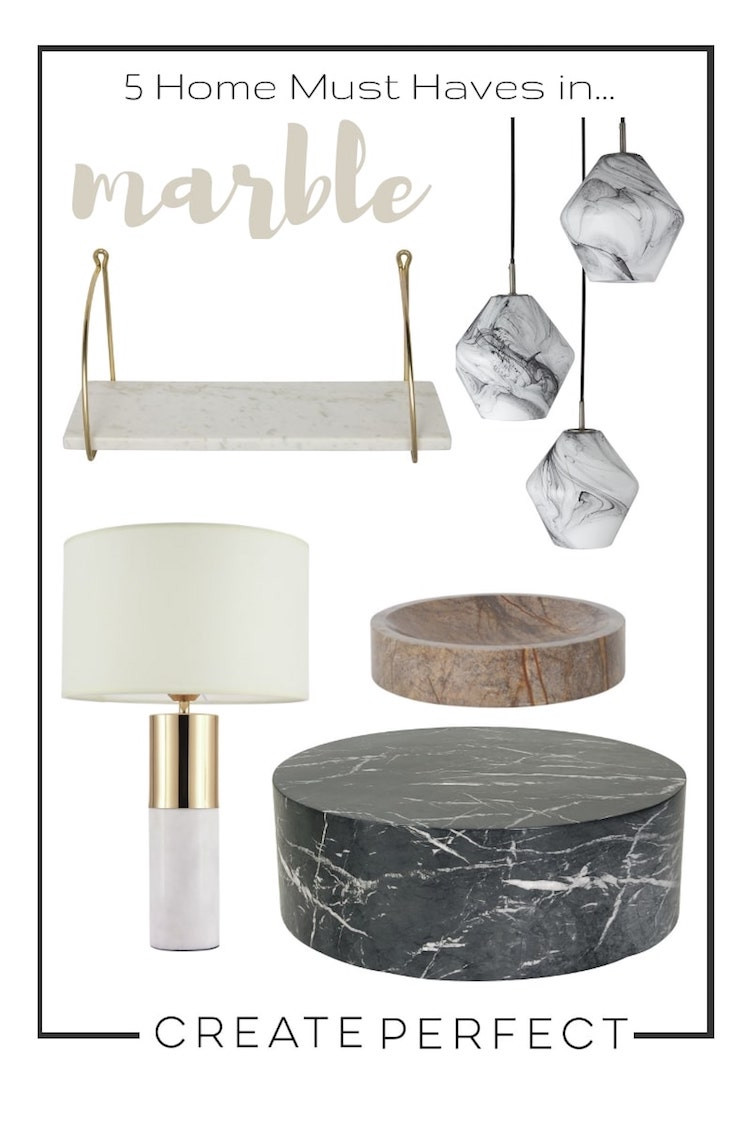 marble home accessories moodboard