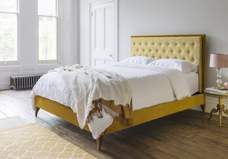 Sofas and Stuff Yellow upholstered bed