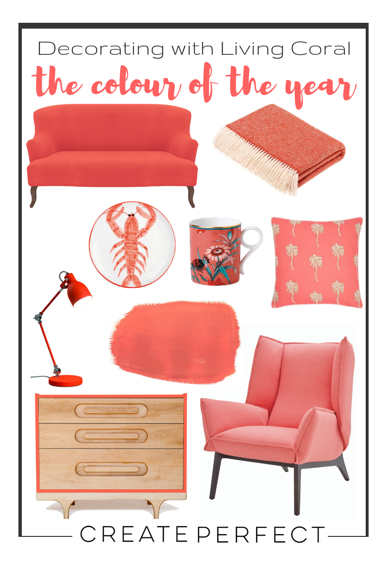 Living coral colour of the year home accessories