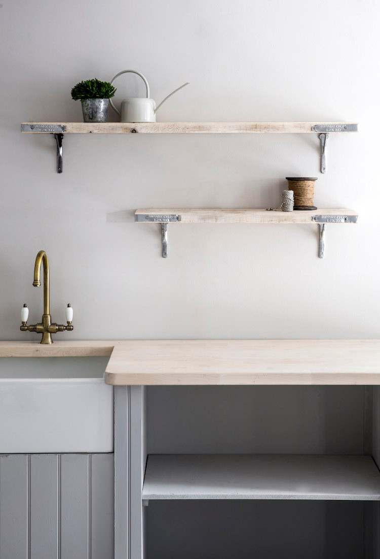Open shelving made with scaffold board