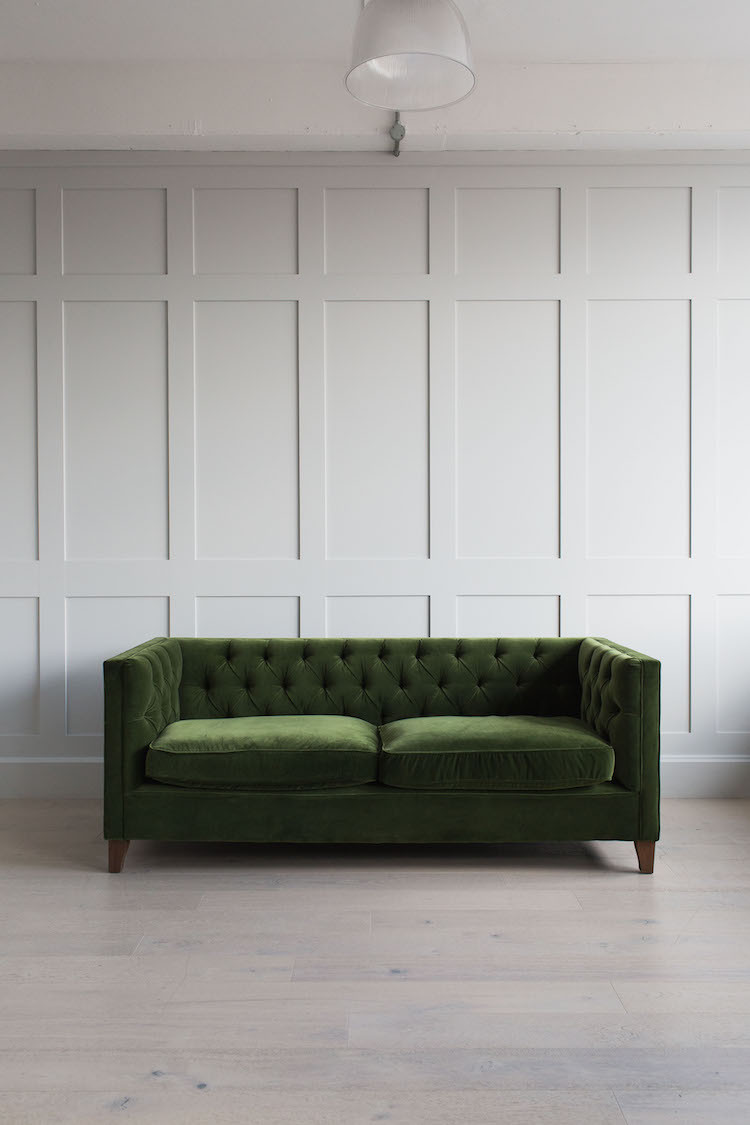 Green velvet sofa - This one is the Edith Button and Stud sofa by Rose and Grey