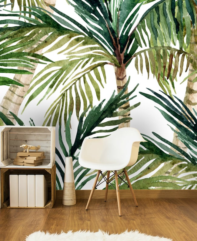 Tropical Palm Print wallpaper by Wallsauce.com