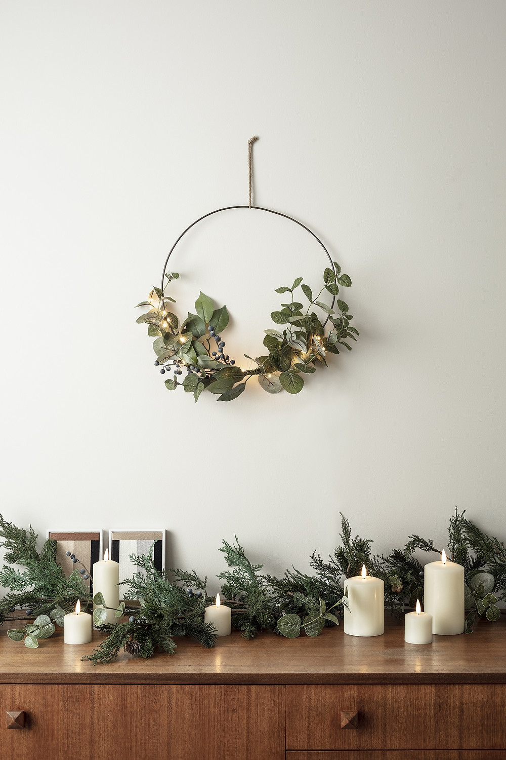 Wire frame Eucalyptus Christmas wreath