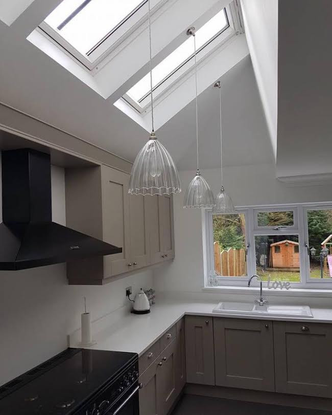 Glass pendant lights for a kitchen