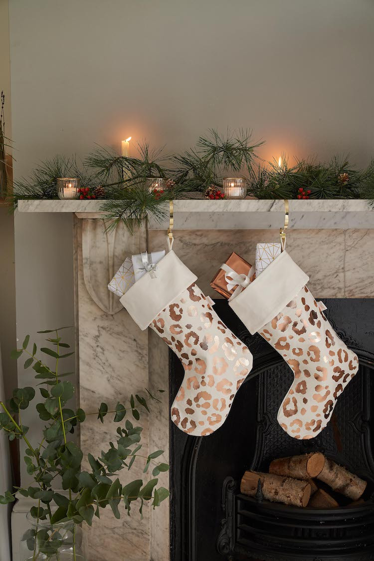 Christmas stockings on the mantelpiece