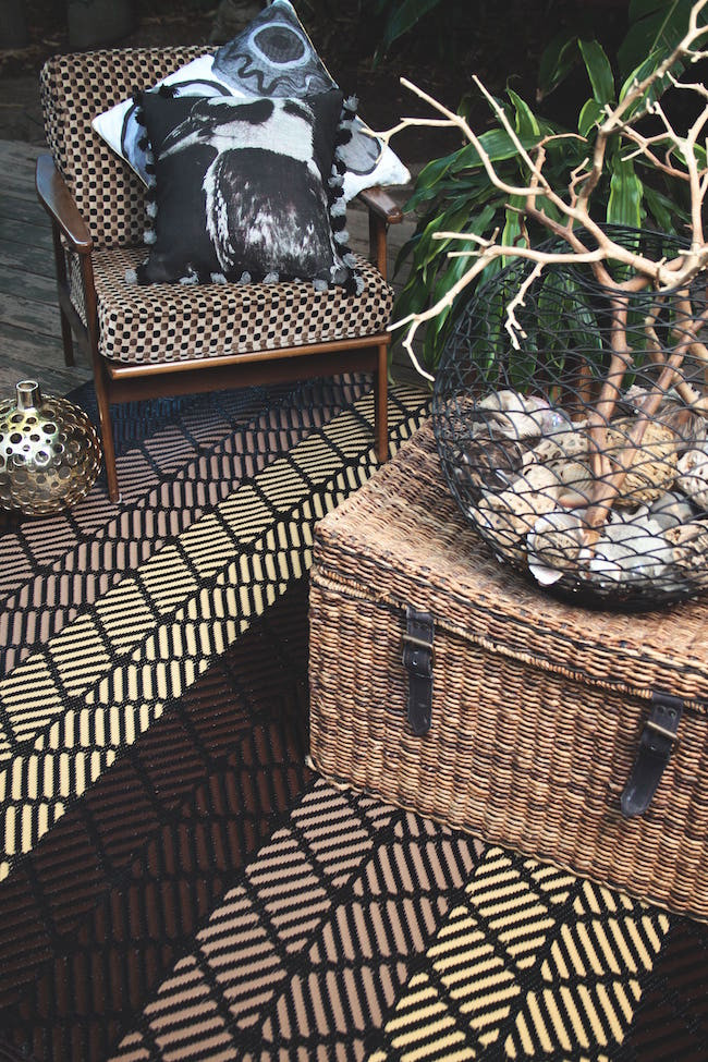 Brown patterned outdoor rug