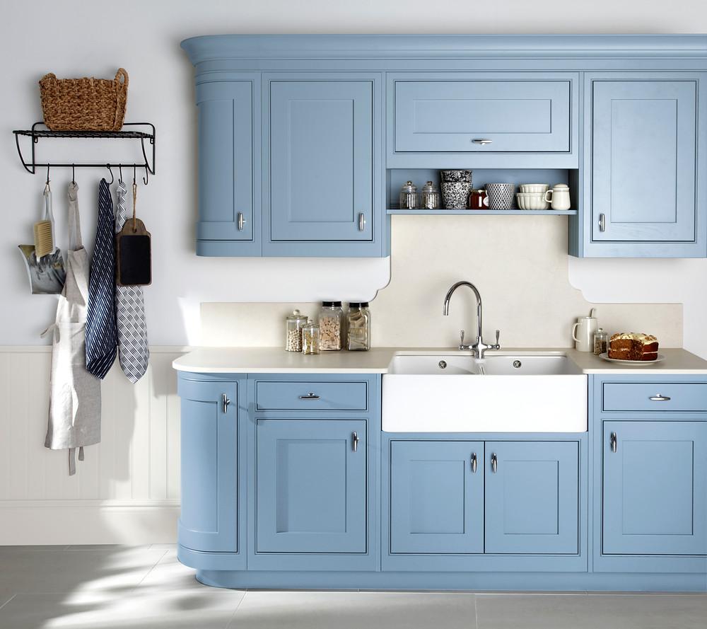 Pastel blue painted kitchen