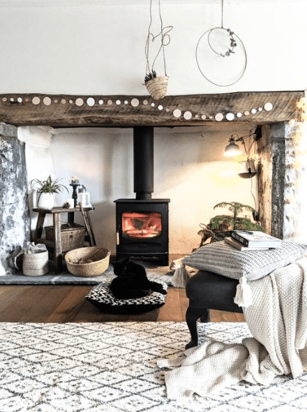 cosy country fireplace at Downcross House