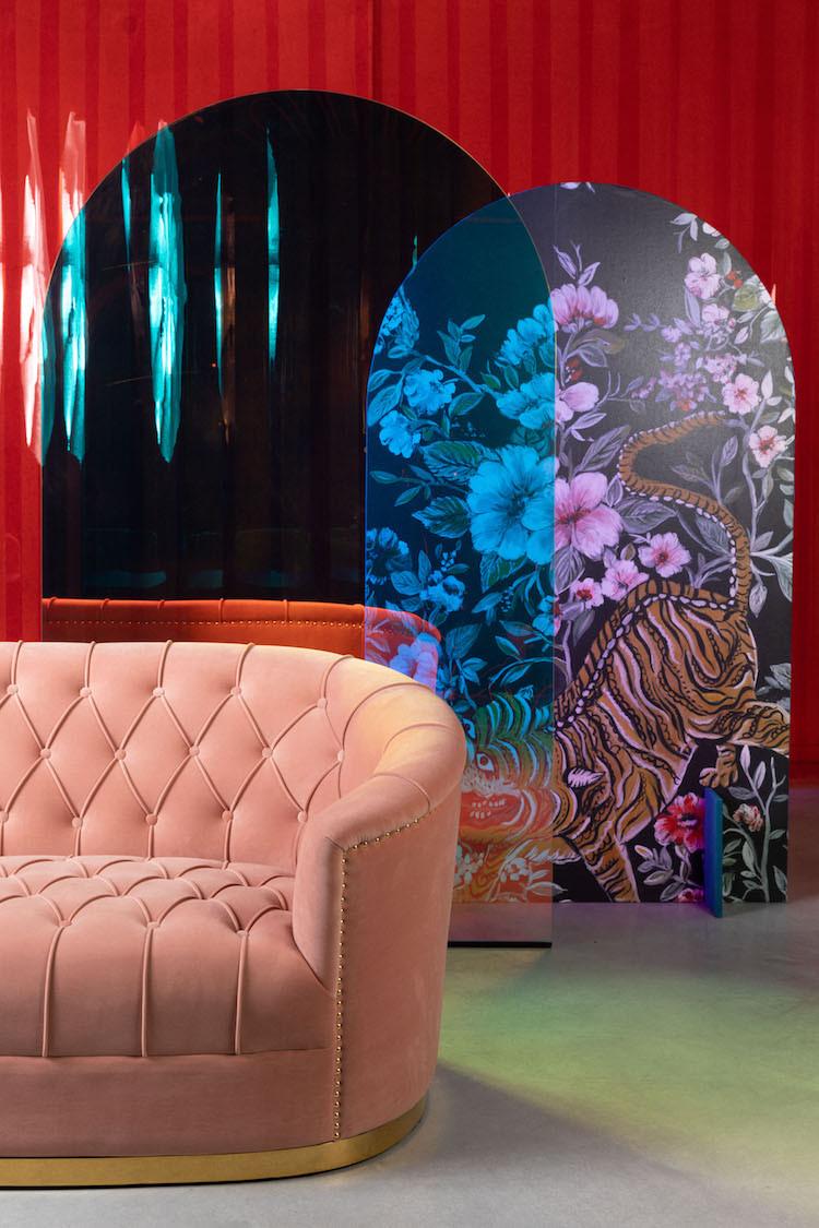 pink curved velvet sofa