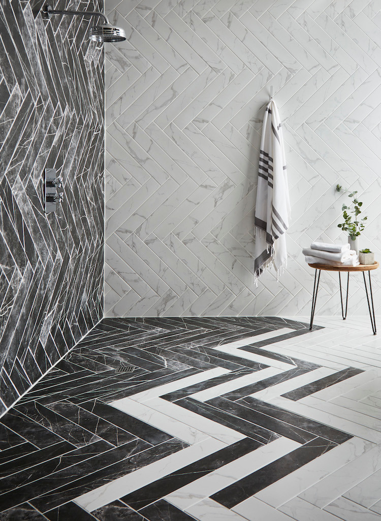 Herringbone Shower Tiles