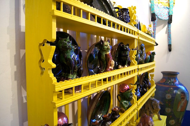Yellow shelves at Casa Azul