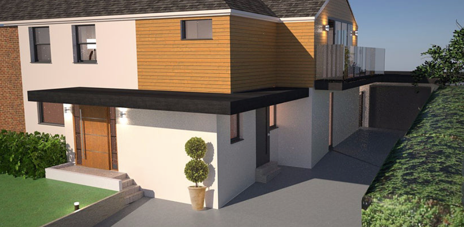 3D render front of house
