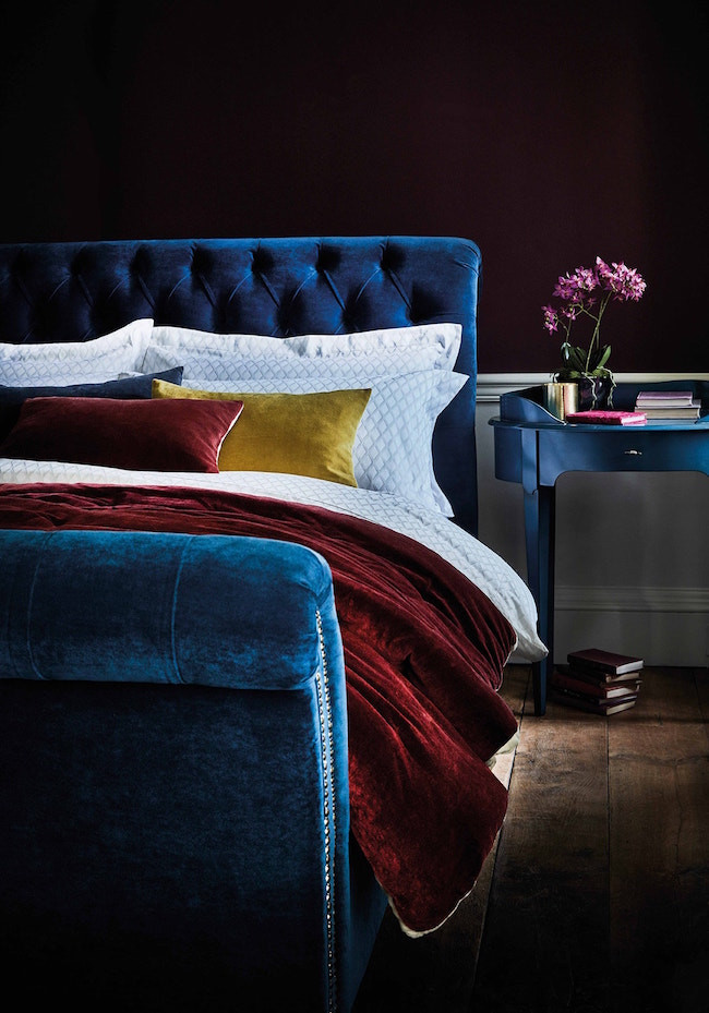 blue Velvet bed by feather and black