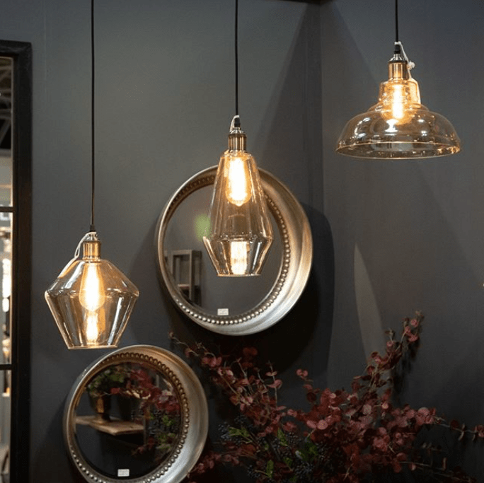 Rustic industrial lights at january furniture show