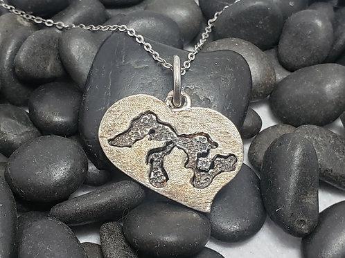 Michigan Great Lakes Diamond Freeform Heart Pendant Argentium Silver (960)