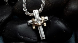 14K yellow gold and silver cross
