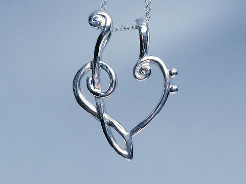 Music Clefs Heart Ring Keeper