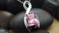 Custom Pink Cubic  Zirconia Pendant