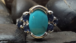 Kingman Turquoise and Sapphire Ring