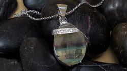 Custom Fluorite and Diamond Pendant