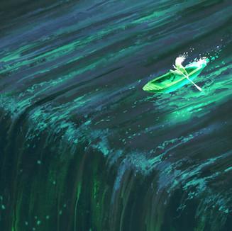 Row Boat Waterfall Animation