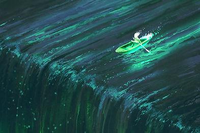 Barco de fila Cascada Animación