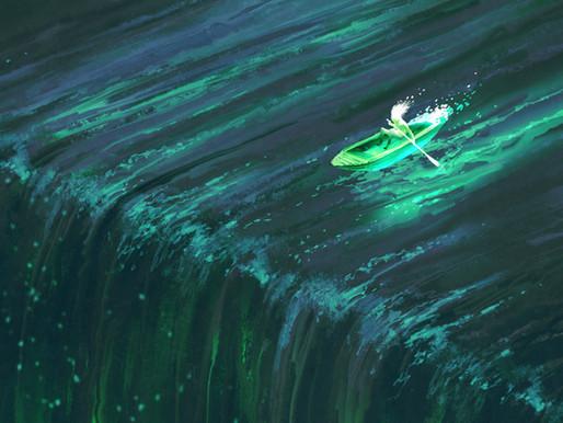 Mit dem Kanu auf den Wasserfall hinzu