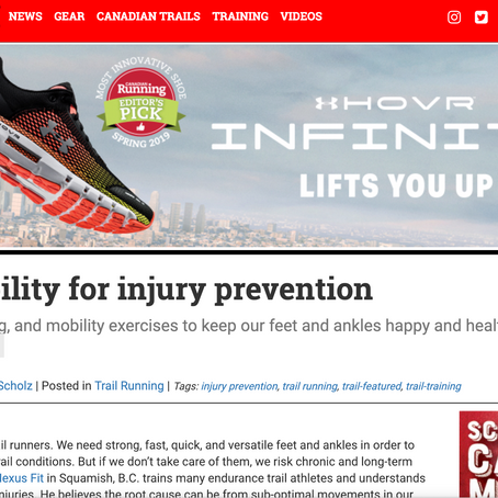 Canadian Trail Running Magazine -Ankle mobility for injury prevention