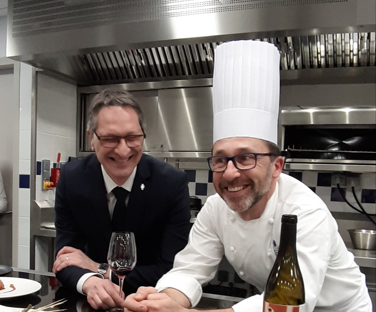 Franck Ramage, head of wine dept and Williams Caussimon, chef instructor - cuisine