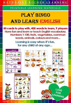 downloadable printable bingo game for kids, children, learn teach English vocabulary, bingo numbers letters animals food colors vegetables fruits common words at home outside