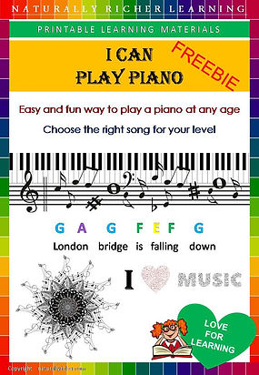 free downloadable printable learn  to play pianofor kids children easy way fun young age small songs piano homeschooling learning teaching freebie, jingle bells, rain rain go away, mary had a little lamb songs