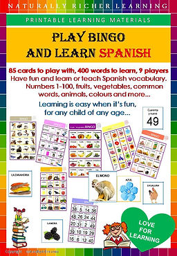 Bingo game, downloadable prinable learing materials, game, naturally richer, learning, Spanih vocabulary, children, teacher, easy, fun, homeschooling, learning, school teaching learningmaterials