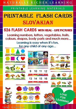 Slovakian downloadable pritable learning materias, flash cards, vocabulary Slovakian, homeschooling, world schooling, learning, natually richer, body parts, animals, letters, numbers 1-100, shapes fruits, vegetables, commnon words,
