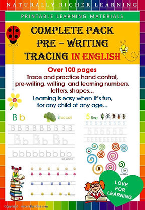Downloadable printable, Pre writing tracing complete pack, pre school, homeschoolin, learning folder, teacher, childen, trace, practice had control, writig numers, letters, learning letters, shapes, naurally richer learning materials, school